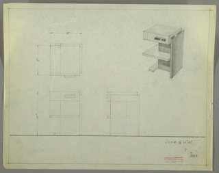 Perspective, plan, and elevation drawing for small end table, probably two different types of wood. Irregular shape of table, with drawer at top and pull on right side of drawer, open shelf below, and base/support on right side of table. Panel on right and base in darker wood, drawer and shelf in lighter wood.