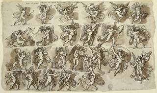 "Top row: 1) running with bar towards right 2) carrying fruit basket upon head 3) flying with scroll 4) dancing with stork 5) flying with vessel 6) walking towards right with basket; Second row: 7) kneeling towards right, in front of basket with grapes, blowing trumpet. Written above, ""cerere."" 8) standing with right foot in basket with grapes, carrying branch 9) running towards right with jar and bowl. Above: ""cerere."" 10) standing right, lighting torch 11) runing towards right with tambourine 12) walking towards left, playing lyre; Third row: 13) standing towards left, drinking from jug 14) Walking toward left, blowing double-lute 15) sacrificing 16) leaning upon pedestal, pouring from jar into bowl. Writing above: ""cerere."" 17) running towards right, carrying large helmet 18) flying and carrying big shield 19) flying with large sword; written above: ""cerere."" 23) with big mask 24) running towards left, carrying thyrsus. Figures written in pencil, inscription above in ink: Sala da pranza dipinta nel castello di Cerere. Verso: opposite direction. Outlined scheme of ceiling, with below, winged genii holding festoons."