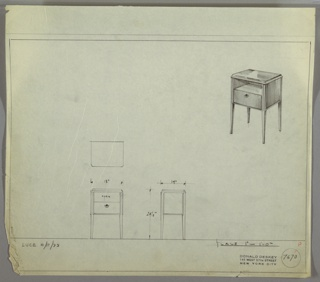Perspective, plan, and elevation drawing for small end table. Polished surface on top of table, body of table probably wood. Small shelf below top of table and drawer below with small circular pull. Four delicate saber legs support table.