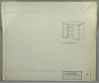 Design for cabinet for Amodec. At upper right, perspective drawing shows rectangular case piece whose top has rounded from corners; drawer above and, possibly, cabinet below also have rounded outside edges. These are accessed by horizontal rectangular pulls and are indented at center. On either side, rectangular supports hold drawers/cabinet off ground.
