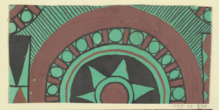 Roundels with starbursts and other geometric shapes in green, tan, and brown.