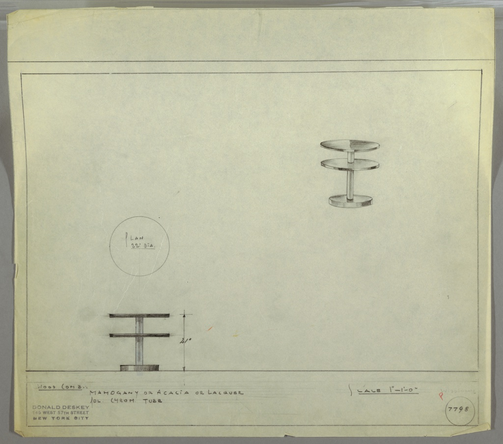 Perspective, plan, and elevation for small circular end table. Two circular platforms at top and base below connected by polished chrome tube. Surface of table in either mahogany, acacia, or lacquer. Table surface slightly wider than base.