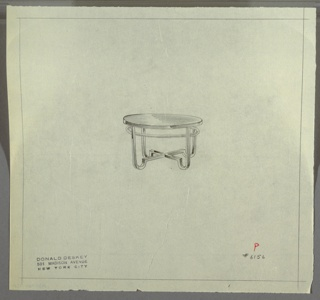 Perspective drawing of round end table; reflective, dark top (Bakelite?) with four legs. Legs are straight, squared tubes with rounded feet, and cross stretcher at center. Tubular ring around top portion of legs.