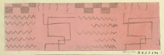 Line motif with zigzags in gray on pink ground.
