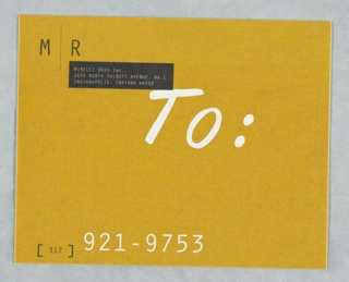 "M/R logo imprinted at upper left; firm name and address imprinted in black in reverse at upper left; imprinted in white at center: ""To""; telephone number in black in white at lower left.