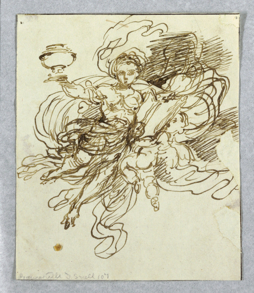 A flying woman raising an urn with her right arm, and putting the left upon a book which is supported in front of her buy a putto.