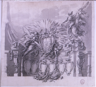 Crest: a curved architectural frieze with six princely escutcheons. Above the coat of arms of Pope Clement XIII (1758-69) supported by angels; rays emanate from it. In background, a curtain which a flying angel is lifting. Squaring indicates its execution in painting. On verso: three construction lines, in graphite.