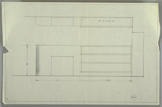 Design to shelving around fireplace. At center, elevation shows rectangular shelving unit with curved right edge, opening for fireplace at center (with object serving to frame fireplace), and three wide shelves at right. Above, plan indicates shelf meant for corner location. Inscribed with Deskey No. 7340.