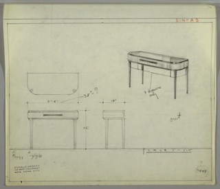 "Design for sideboard. At upper right, perspective shows oblong case piece with curved front corners. Top, lower trim, and square tapered legs in darker material while drawer front and sides in lighter, striated one. Single wide drawer accessed by rectangular pull at center. Below drawer, roughly sketched in second, lower drawer with notation ""2 drawers / only"". Also shown are plan and front and side elevations. Inscribed with Deskey No. 7503."