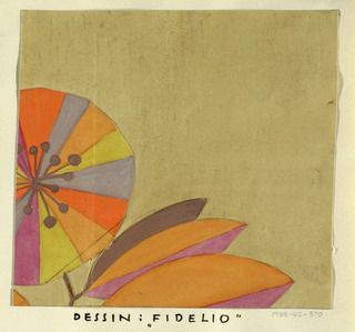 Ochre ground with stylized blossoms in orange, gray, peach, yellow, and magenta with leaves in orange, brown, and magenta.