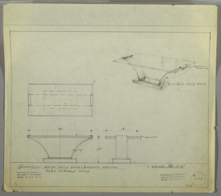 Drawing for console table for George C. and Eleanor Hutton Rand apartment. Perspective drawing of table in upper right corner. Table has rectangular glass top, two brushed chrome legs on each end curved towards center of table and connected to a small rectangular white holly base.