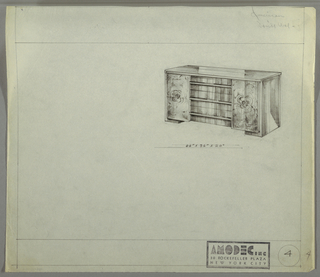Design for sideboard for Amodec with American walnut burl veneer. At upper right, perspective shows rectangular sideboard with curved front corners. At center, three stacked drawers with horizontal pulls running their width. On either side, panels or, more likely, cabinets accessed by invisible/recessed pulls, at diamond-match veneered in American walnut burl. Inscribed dimensions.