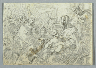 Drawing, Adoration of the Magi study after Lodovico Carracci, 1800–1820