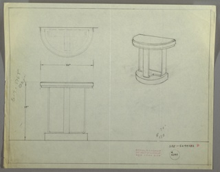 Drawing, Sidetable, Half Round, 1929–1934