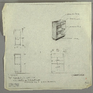 """Design for low bookcase in Andaman Koa and black lacquer. At upper right, perspective shows rectangular-plan case piece in Koa with black lacquer base. Lower front edge is rounded, while top surface consists of black lacquer inset tray, open to hold books, also with rounded front edge. One interior shelf. At left, plan and side elevation; at lower right, front elevation—all with dimensions. Inscribed at lower right with """"K. 9/30/33"""" and Deskey No. 7360."""