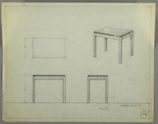 Perspective, plan, and elevation drawing for table. Rectangular top of table probably in Bakelite or lacquer, base of table probably wooden with four thick, rectinilinear legs.