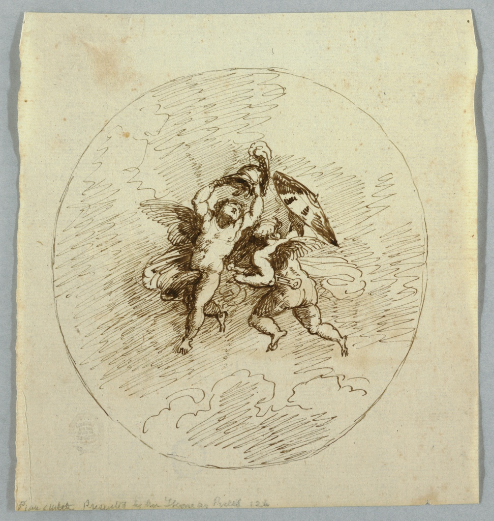 Vertical rectangle showing two loosely drawn putti in an oval frame. The left putto raises a helmet; the right putto, seen from the back, has a sword and shield.