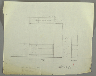 Design for shelf for radio and books in walnut. At lower left, front elevation describes low rectangular object with space for radio at left and two open shelves for books at right (these are wider than the former). Above, plan; at lower right, side elevation.