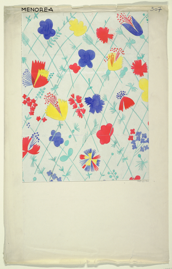 Floral pattern in blue, coral, yellow, and green.