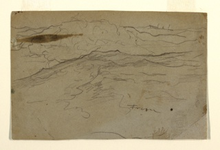 Sketch of a stormy sea with a vessel on the horizon.