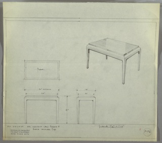 Small rectangular end table with rounded corners and straight legs. Plan indicates materials to be either all walnut or walnut legs and apron and black lacquer top.