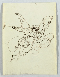 An angel in flight, holding a trumpet with one hand.