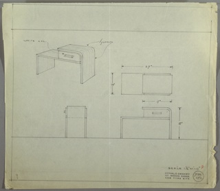 Perspective, plan, and elevation drawing of a vanity. Vanity is rectangular on the left side with a rounded corner on the right. Drawer on the right side with rectangular pull is on top of the desk surface. Rounded surface extends from top of drawer at left to the ground to form leg. Rounded right edge and left side of desk in sycamore; drawer on desk in white lacquer.