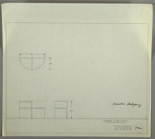 Elevation and plans for low end table. Semi-circular from the top, with varying levels of shelves.