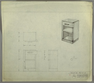 Perspective, plan, and elevation drawing for end table. Rectangular overall shape of table, no legs. Drawer below top of table, with rounded right edge and rectangular pull. Two open shelves below drawer. Drawer, shelves, and panel on right side of table in lighter wood.