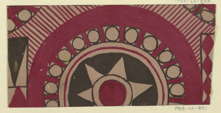 Roundels with starbursts and other geometric shapes in maroon, brown, and tan.