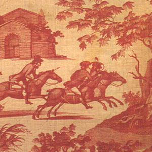 Design illustrating a boat hunt with two scenes alternate with scenes of mounted riders (one blowing a horn) and a groom holding the reins of a woman on horseback and a standing man holding a gun, both drinking a stirrup cup. In red on white.