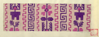 Pale pink ground with greek key motif in purple with a toothed border in fuschia, alternating with angular leaf motifs in purple and fuschia.