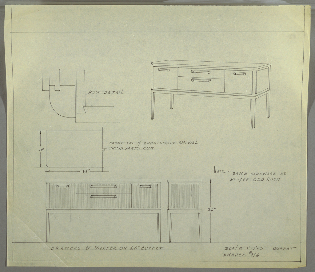 Drawing, Design for Amodec Buffet #916