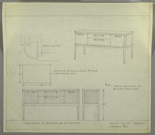 Design for Amodec buffer #916. At upper right, perspective shows oblong object with curved front corners. Square-plan tapered legs support overall rectilinear case piece with two stacked drawers at center (the top shallower then the bottom) and cabinets on either side—each accessed by horizontal, bracket-like pulls. Square panels in same material as drawers/doors on sides. At upper left, post detail. Below, partial plan and front and side elevations.