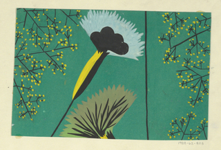 Stylized fan-shaped flowers in light blue, yellow, and green with sprays of yellow and green buds on a green ground.