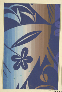 On blue and brown ombre ground, partial view of pattern design with flowers and large leaves in navy blue.