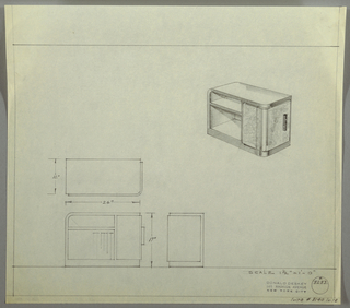Design for end table. At upper right, perspective view of rectangular case piece with rounded top-left corner and rounded front-right corner. At front, cabinet door in burled wood accessed by vertical rectangular pull with two open shelves at rear/left. Case in different material than door and adjacent panel. Below, left, plan, front, and side views. Inscribed with Deskey No. 8283 and Suite #8140.