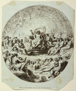 Zeus upon throne in center of big assembly of gods. He raises right arm and in act of rising. Caption: Concilio generale delli dei Giove decide del destino di Troia.