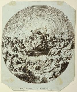 Zeus upon throne in center of big assembly of gods. He raises right arm and in act of rising. Caption: Concilio generale delli dei Giove decide del destino di Troia.