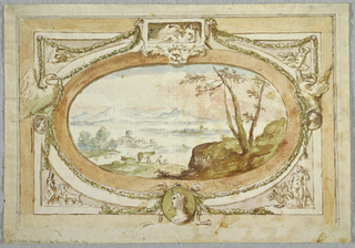 Horizontal rectangle framing an oval landscape. In the center, above, Leda with the swan after Michelangelo; at left, the eagle of Zeus received by a nude woman; at right, Cupid; below at left, a man with a goat; below center, a medallion with a female profile; below at right, Hercules with the Hydra. Two swans clasping garlands flank the main scene.