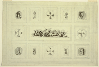Ceiling divided into 8 square and 5 rectangular compartments, each with central motif. Central horizontal rectangular panel shows Triumph of War: at left, mounted warrior in classical armor fights footsoldier; at center, warrior in horse-drawn chariot and above Victory with trumpet; at right, other combatants of opposition and Victory with trumpet. Victories in square panels at four corners: three record on oval shields, and fourth holds trophy of classical armor. In four square panels at center of each side are octagonal motifs with four winged genii forming Maltese cross pattern. Representations of double pairs of wings (probably of eagle), in four rectangular panels flanking center squares of long sides.