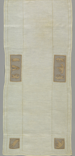 Linen table cover with hemstitching and six pieces of lace insertion showing Indian motifs: two rectangular pieces show two braves with bows framing tepees and four squares in the corners show a man in a canoe, a woman with a papoose, a brave with a bow, and a tepee.