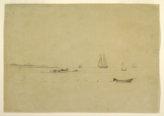 Horizontal view showing from the left a long point of land with a lighthouse, running out to sea where five schooners, one behind the point, and three dories are laying a net.