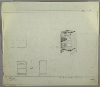 Perspective drawing and plans for night table. Rectangular top of Bakelite (?) on a rectangular base with slightly rounded corners. Drawer above two open shelves with arch-shaped feet/base.