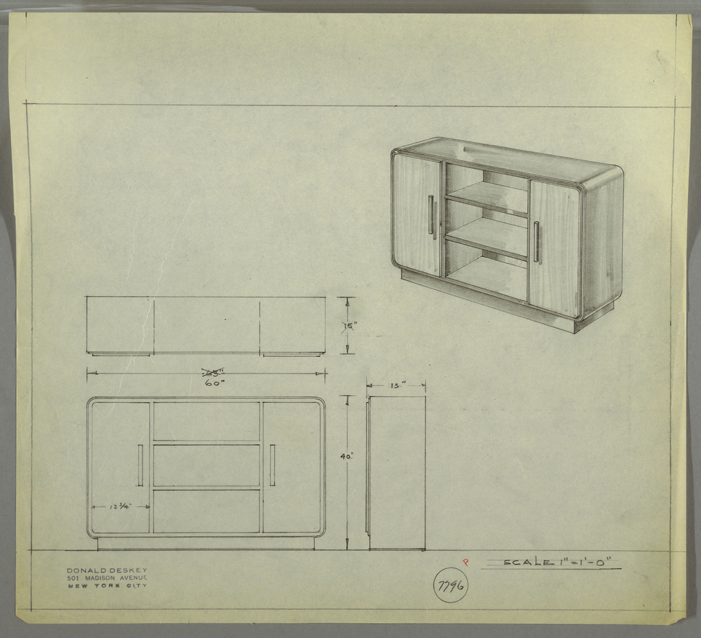 Design for sideboard. At upper right, perspective shows rectangular cabinet with rounded corners resting atop a rectangular base. Object features two vertical doors on either side, accessed by cylindrical pulls. At center, three open shelves. Top and sides seem to be one continuous surface. At center left, plan with dimensions; at lower left, front elevation; at lower right, a side elevation. Inscribed with Deskey No. 7796.