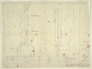 Design for lamp base in two drawings:  on left, lamp base from front; on right, base from side. A guitar with body split into two parts with guitar neck running vertically between. Three brass balls on lower neck; guitar sits on pedestal which rests on four balls. Ruled border on four sides.