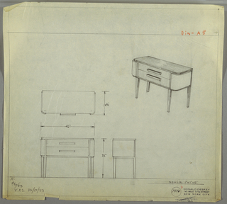 Design for sideboard. At upper right, perspective shows rectangular case piece with curved front corners resting on four, square-plan tapered legs. At center, stack of two drawers accessed by horizontal pulls; on either side, planes wrap corners. Top, legs, and carcass in darker material than drawers or sides. Plan, front and side elevations also shown. Inscribed with Deskey No. 7516.