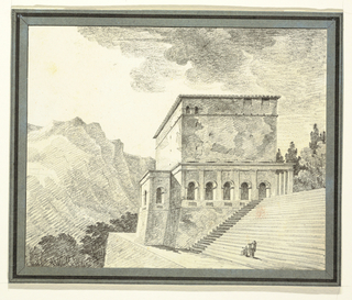 Stairs, high building with portico in front, all situated on substructure. Two figures in classical attire, one seated, one standing below steps, extending right arms.  Background at right, trees, at left, top of trees and mountains.