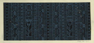 Geometric line pattern in black and blue conisisting of consecutive alternating rows of vertical lines, ovals, arcs, bowties, bulls-eyes, and flowers.