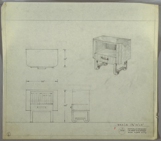 Perspective, plan, and elevation drawing of wooden bed/end table. Rounded corners at front of table, squared corners at back. Open, recessed shelf in center of table with one small drawer below; rectilinear drawer pull. Legs are rounded at bottom and form stretcher to meet opposite leg. Elevation drawing shows books in open shelf.